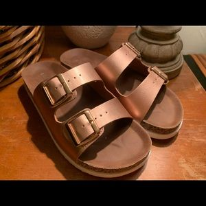 Rose Gold slide on Madden Girl Sandals